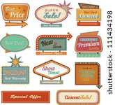 retro banner sign ad. vector... | Shutterstock .eps vector #111434198