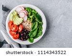 vegan lunch. burrito buddha... | Shutterstock . vector #1114343522