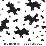 vector unicorn seamless pattern ... | Shutterstock .eps vector #1114353032