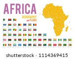 set of 54 flags of africa... | Shutterstock .eps vector #1114369415