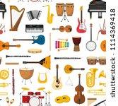 musical instrumental seamless... | Shutterstock .eps vector #1114369418