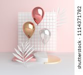3d render balloons on cage... | Shutterstock . vector #1114371782