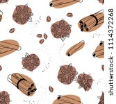 cinnamon and anise seamless... | Shutterstock .eps vector #1114372268