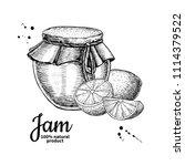 lemon jam glass jar vector... | Shutterstock .eps vector #1114379522