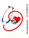 a stethoscope and a heart on a... | Shutterstock . vector #111438212