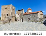 st. spyridon and village square ... | Shutterstock . vector #1114386128