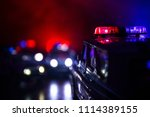 police cars at night. police...   Shutterstock . vector #1114389155
