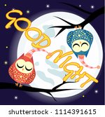 good night card with full moon... | Shutterstock . vector #1114391615