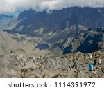hikers at mount stanley against ... | Shutterstock . vector #1114391972
