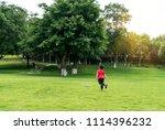 children are flying on the... | Shutterstock . vector #1114396232