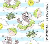seamless pattern with unicorns... | Shutterstock .eps vector #1114399532