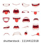 cartoon mouths. facial... | Shutterstock .eps vector #1114412318