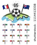 football on the world with set... | Shutterstock .eps vector #1114413338