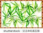 bamboo leave on wooden frame  | Shutterstock . vector #1114418228