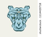 ornamental tattoo cougar head.... | Shutterstock .eps vector #1114420718