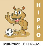 cartoon funny hippo playing... | Shutterstock .eps vector #1114422665