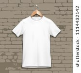 blank mens or unisex cotton t... | Shutterstock .eps vector #1114432142