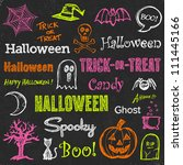 halloween hand drawn text... | Shutterstock .eps vector #111445166