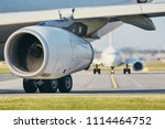 hot air from jet engine against ... | Shutterstock . vector #1114464752