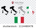 high quality map of italy with... | Shutterstock .eps vector #1114480478