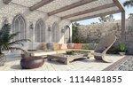 arabic home garden exterior and ... | Shutterstock . vector #1114481855