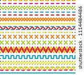 sewing stitch borders for...   Shutterstock . vector #1114484486