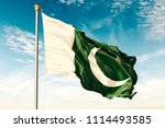 pakistan flag on the blue sky... | Shutterstock . vector #1114493585