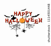 happy halloween text with... | Shutterstock .eps vector #1114501448