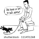 cartoon  a dog and an owner. | Shutterstock .eps vector #111451268