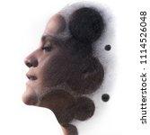 circles blend into her face ...   Shutterstock . vector #1114526048