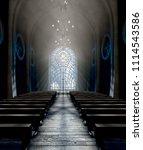 a dark grand church interior...   Shutterstock . vector #1114543586