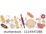 bakery pattern. background with ... | Shutterstock .eps vector #1114547288
