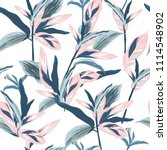 tropical leaves on pastel mood... | Shutterstock .eps vector #1114548902