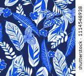 trendy monotone blue  tropical... | Shutterstock .eps vector #1114548938
