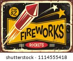 retro fireworks sign with red... | Shutterstock .eps vector #1114555418