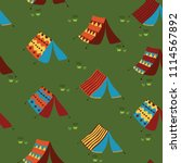 camping tents on a meadow....   Shutterstock .eps vector #1114567892