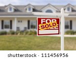 red sold for sale real estate... | Shutterstock . vector #111456956