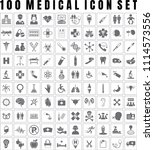 vector medical icon set of 100... | Shutterstock .eps vector #1114573556