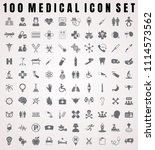 vector medical icon set of 100... | Shutterstock .eps vector #1114573562
