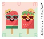 fruit popsicle   watermelon  ... | Shutterstock .eps vector #1114576622