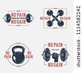 set of bodybuilding typography... | Shutterstock .eps vector #1114582142