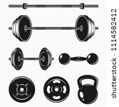 set of monochrome bodybuilding... | Shutterstock .eps vector #1114582412