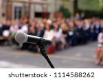 microphone and stand in front... | Shutterstock . vector #1114588262