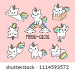 Stock vector set of cute little cat unicorn 1114593572
