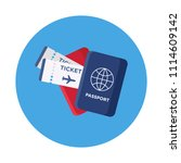 passports and tickets flat icon ... | Shutterstock .eps vector #1114609142