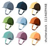 stylish colorful set of helmets ... | Shutterstock .eps vector #1114609448