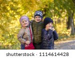 group of happy three kids... | Shutterstock . vector #1114614428
