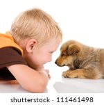 Stock photo boy with puppy isolated on white background 111461498