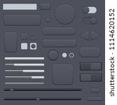 black interface buttons set. 3d ...