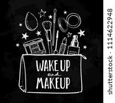 wake up and make up. cosmetics... | Shutterstock .eps vector #1114622948